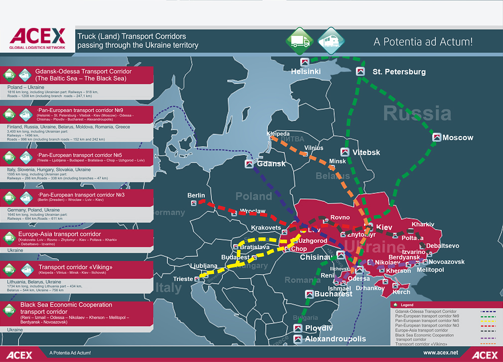 Delivery routes map to Ukraine